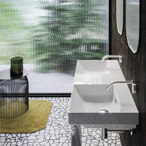 double washbasin / wall-mounted / rectangular / ceramic