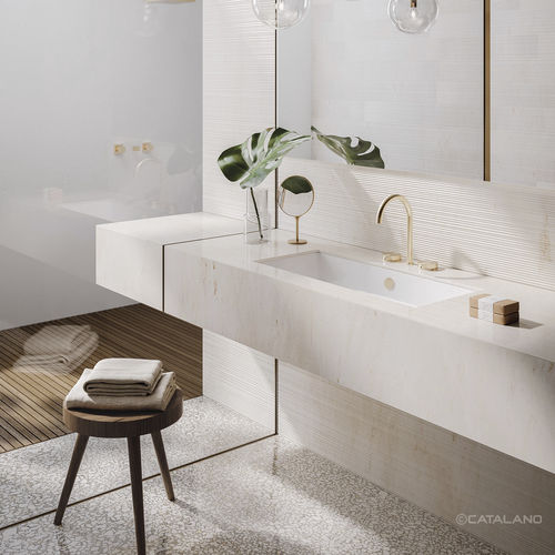 undercounter washbasin / rectangular / ceramic / contemporary