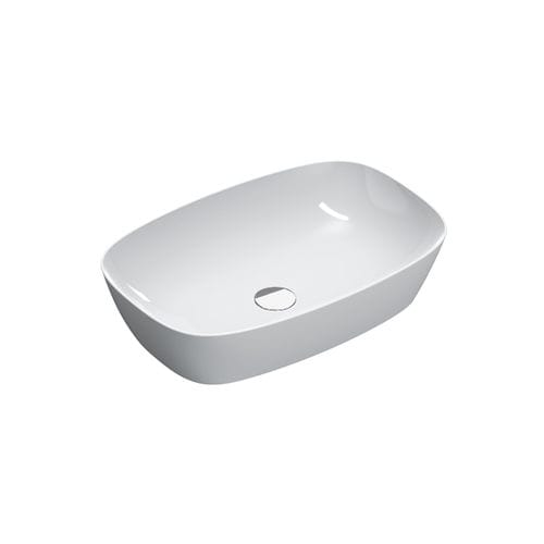 countertop washbasin / oval / ceramic / commercial