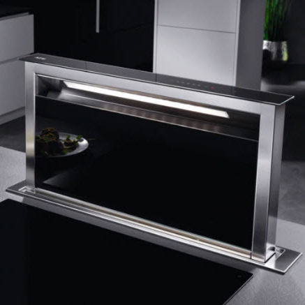 countertop range hood / with built-in lighting / retractable