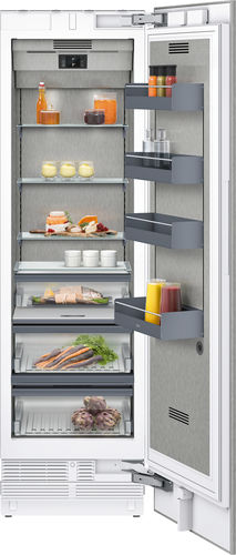 upright refrigerator / white / stainless steel / energy-efficient