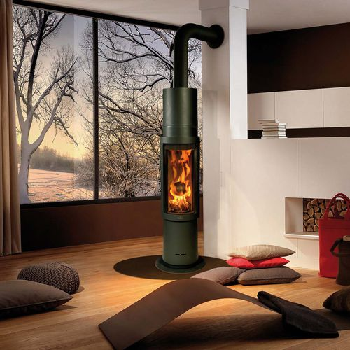 wood heating stove / multi-fuel / contemporary / steel