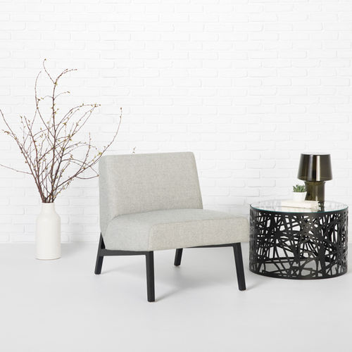 contemporary fireside chair / fabric / maple / beige