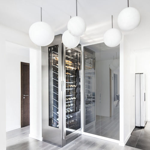 stainless steel wine cabinet / glazed / custom / integrated lighting