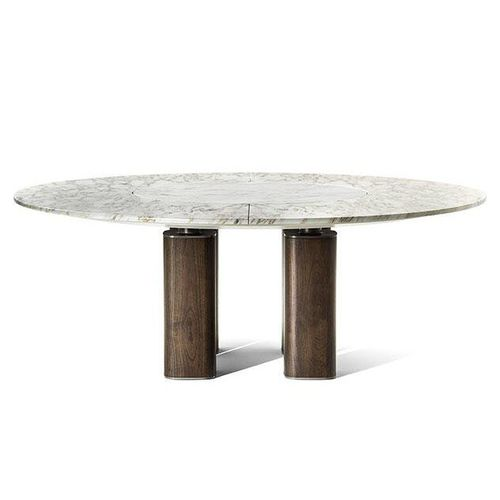 contemporary table / steel / marble / wooden base