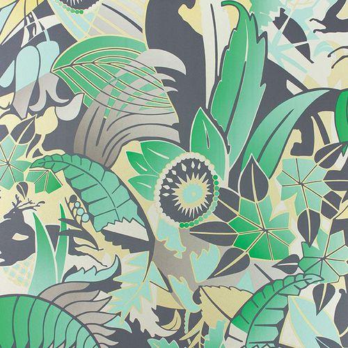 contemporary wallpaper / floral / gray / blue
