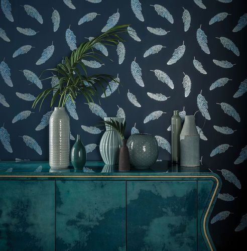 contemporary wallpaper / nature pattern / gray / blue