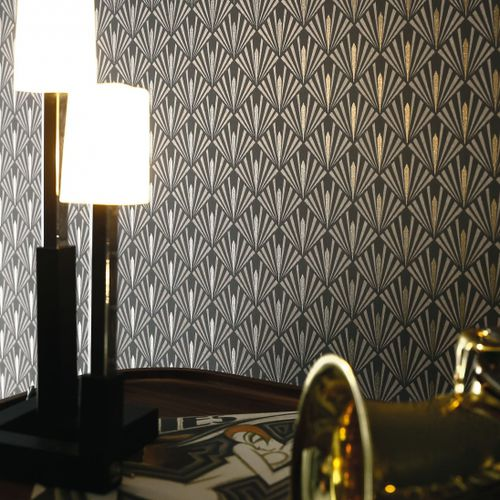 contemporary wallpaper / vinyl / patterned / gray
