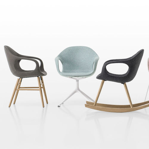 Scandinavian design chair / upholstered / with armrests / sled base
