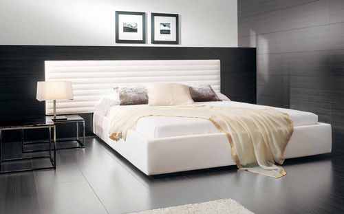 double bed / contemporary / upholstered / wood veneer