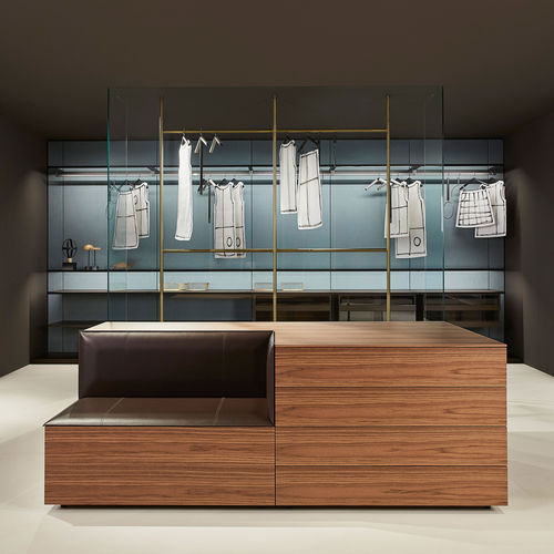 contemporary chest of drawers / wooden / leather / glass