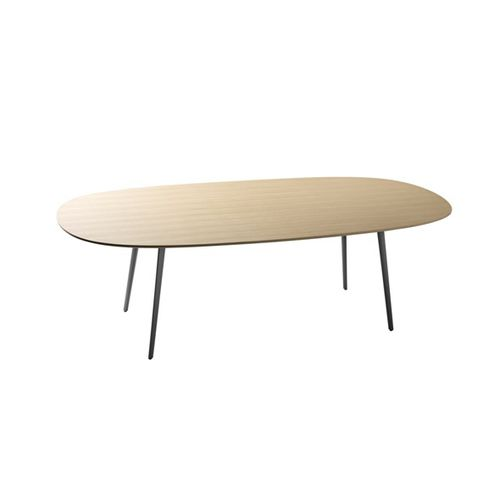 contemporary boardroom table / MDF / aluminum / oval