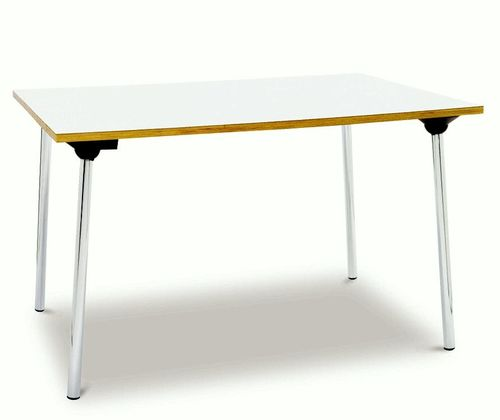 contemporary table / melamine / plastic / chromed metal base