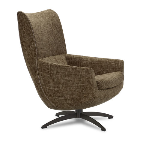 contemporary armchair / fabric / leather / lacquered steel