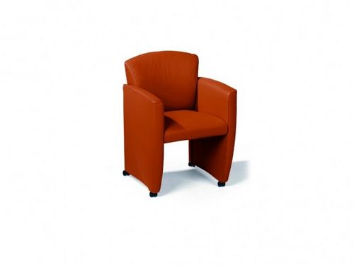 contemporary chair / on casters / with armrests / fabric