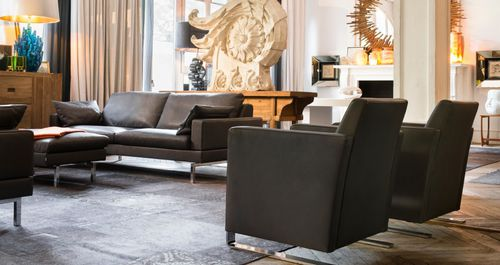 contemporary armchair / fabric / leather