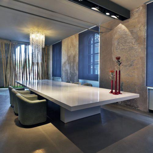 contemporary boardroom table / glass / laminate / rectangular