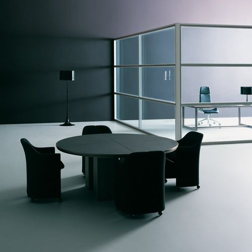 contemporary boardroom table / wooden / square / round