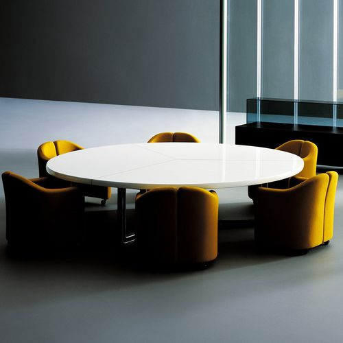 contemporary boardroom table / wooden / round / modular