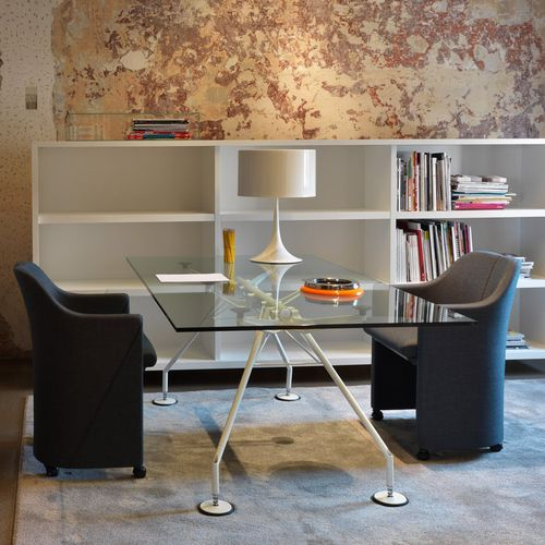 contemporary boardroom table / glass / metal / rectangular