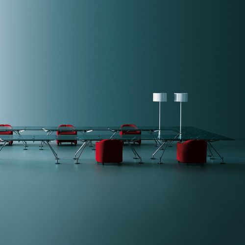 contemporary conference table / glass / metal / rectangular
