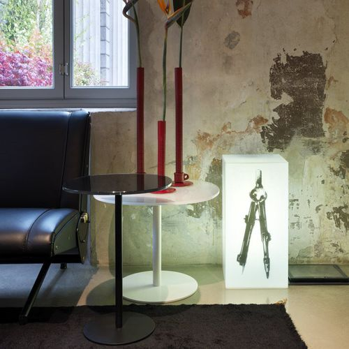 contemporary pedestal table / glass / laminate / round