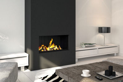 gas fireplace / multi-fuel / wood-burning / contemporary