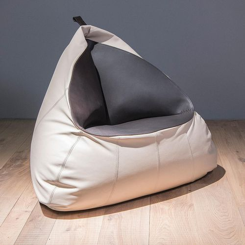 contemporary bean bag / leather / gray / blue