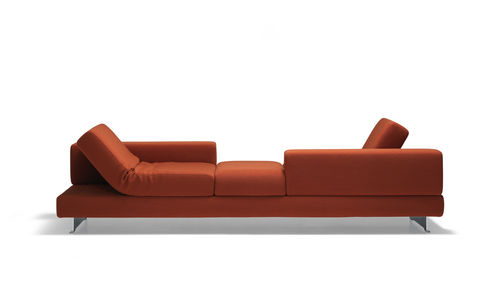 minimalist design sofa / fabric / 3-seater / with fold-down backrests