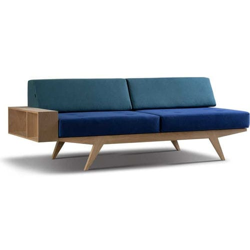 contemporary sofa / fabric / leather / walnut