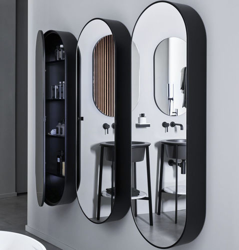 Wall Mounted Mirror Elio Slim Ceramica Cielo With Shelf Hanging With Storage Compartment