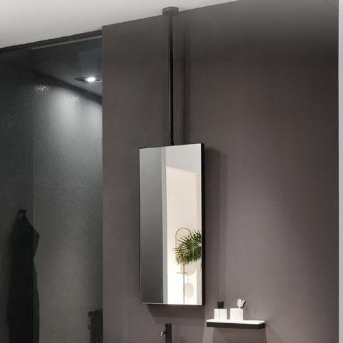 Ceiling Mounted Bathroom Mirror Arcadia Argo Matt Black Ceramica Cielo Contemporary Rectangular Metal