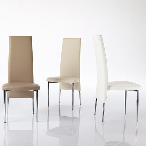 contemporary chair / upholstered / high-back / steel