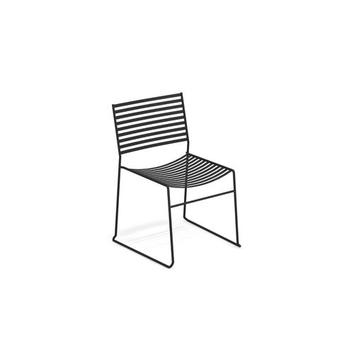 contemporary garden chair / stackable / sled base / with removable cushion