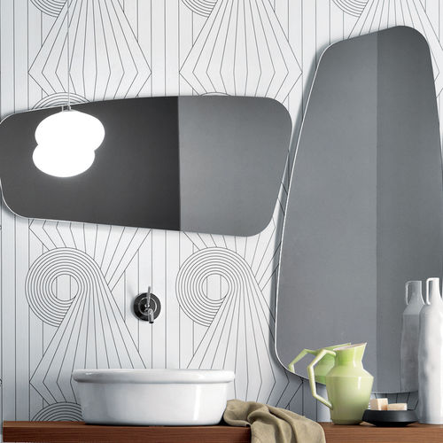 wall-mounted bathroom mirror / contemporary / lacquered wood