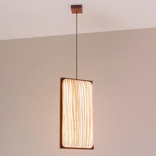 pendant lamp / contemporary / silk / oak