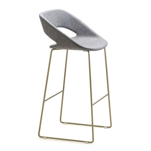 original design bar stool / leather / powder-coated steel / fabric