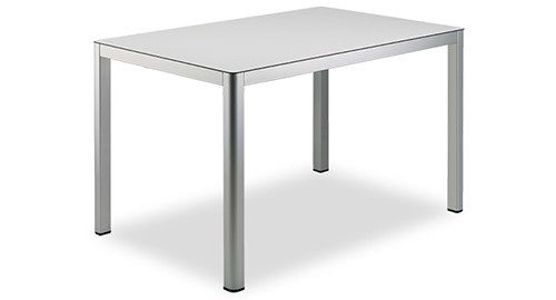 contemporary table / metal / chromed metal / square