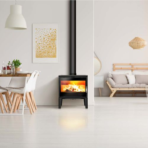 wood heating stove / cast iron / contemporary / double-combustion