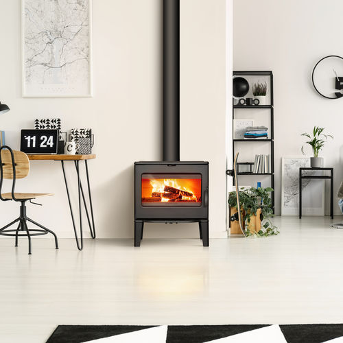 wood heating stove / contemporary / cast iron / double-combustion