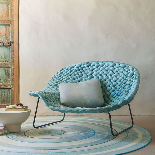 contemporary chaise longue / wooden / steel