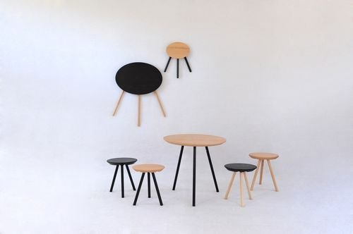 contemporary table / wooden / round / folding