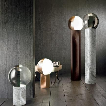 floor-standing lamp / contemporary / blown glass / oak