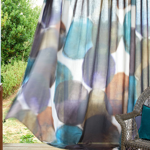 patterned sheer curtain fabric / linen / cotton / washable