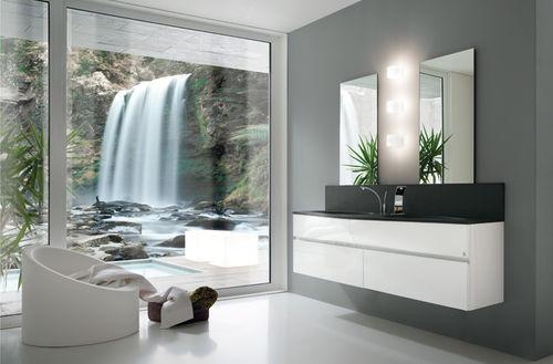 Double Washbasin Cabinet Wave Rab Arredobagno Wall Hung Laminate Contemporary