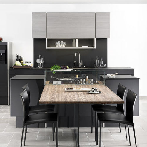 Contemporary Kitchen Poggenpohl Wood Veneer Aluminium Island