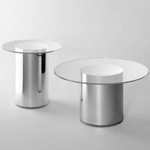 contemporary side table / tempered glass / round