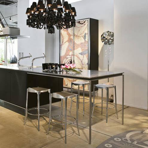 contemporary bar stool / leather / chrome steel / cast aluminum