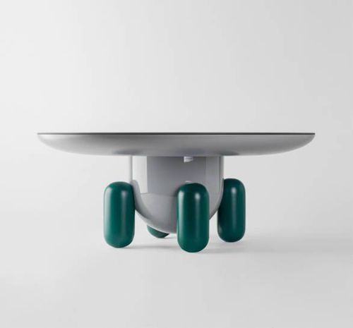 contemporary coffee table / lacquered wood / fiberglass / round