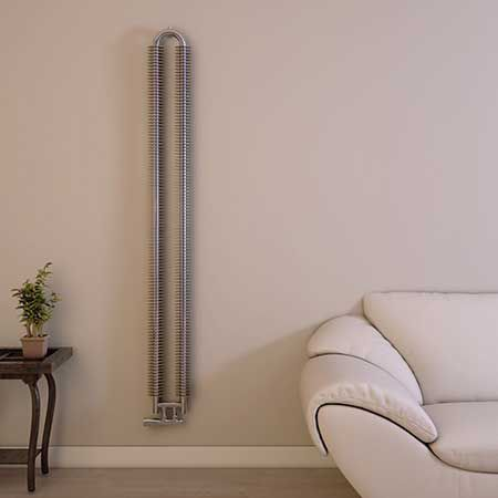 hot water radiator / stainless steel / contemporary / wall-mounted